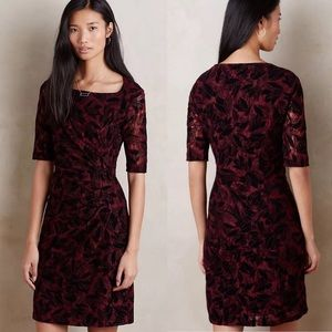 MAEVE Anthropologie Elorn Wine Black Lace Dress 6